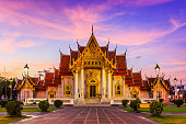 Bangkok, Thailand. The Marble Temple, Wat Benchamabopit Dusitvanaram at sunset.