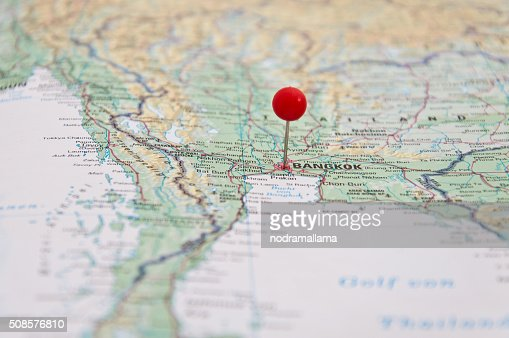 Bangkok, Thailand, Red Pin, Close-Up of Map. : Bildbanksbilder