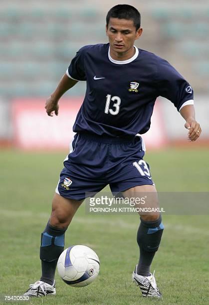 Thai football player Kiatisuk Senamuang is seen during a practice session at ThaiJapan stadium in Bangkok 15 July 2007 Thailand will face Australia...