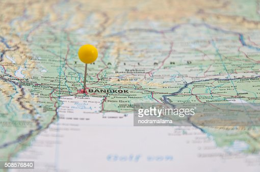 Bangkok, Thailand, Yellow Pin, Close-Up of Map. : Stockfoto