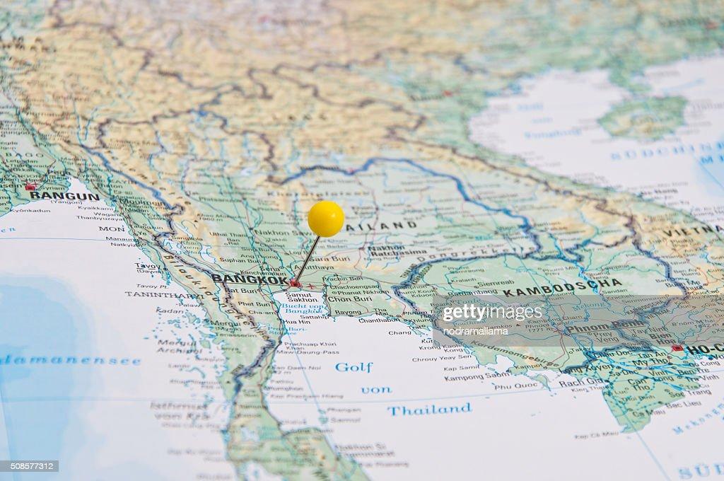 Bangkok, Thailand, Yellow Pin, Close-Up of Map. : Stock Photo