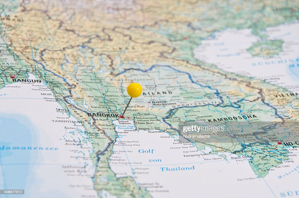 Bangkok, Thailand gelben Polig, Nahaufnahme der Karte. : Stock-Foto