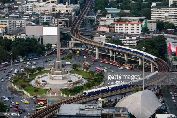 Bangkok traffic aerial view of Victory monument at Bangkok, Thailand.