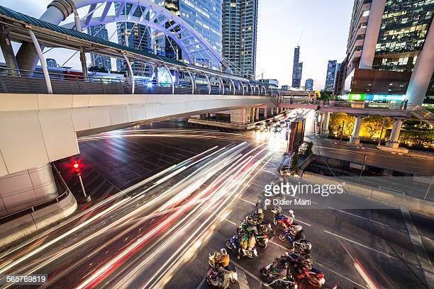 Bangkok traffic in Sathorn business district