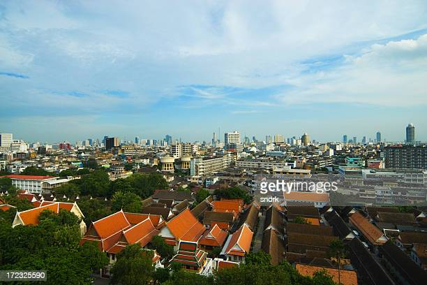 Bangkok View with Temple Roofs 2
