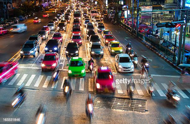 Bangkok with traffic at night.