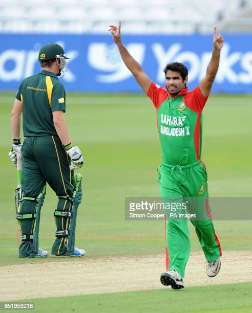 Bangladesh A's Farhad Reza celebrates taking the wicket of Nottinghamshire Outlaw's Steven Mullaney during the Tour Match at Trent Bridge Nottingham