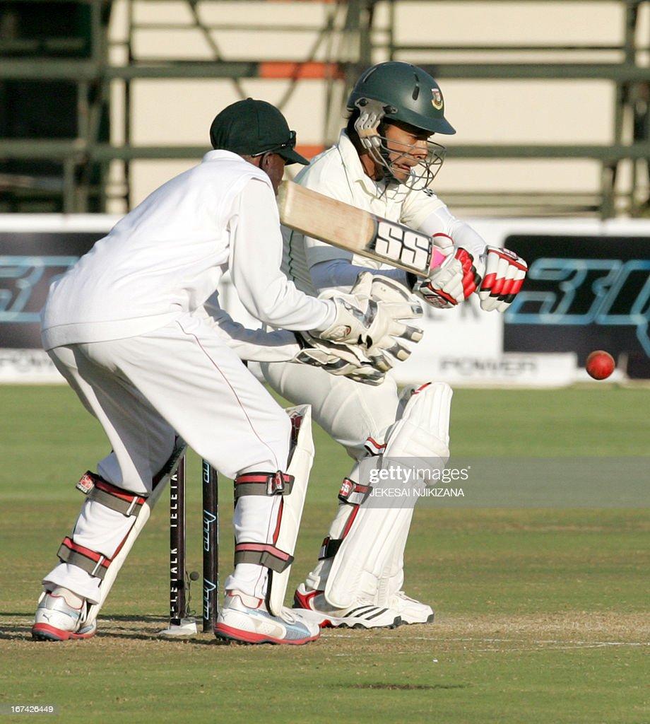 Bangladesh batsman and captain Mushfiqur Rahim in action on April 25, 2013 during the first of the second and final cricket Test between Zimbabwe and Bangladesh at the Harare Sports Club. AFP PHOTO/Jekesai Njikizana.