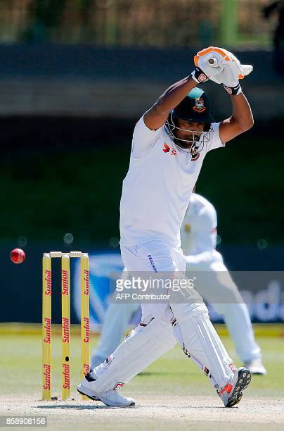 Bangladesh batsman Imrul Kayes lets a ball go during the third day of the second Test cricket match between South Africa and Bangladesh in...