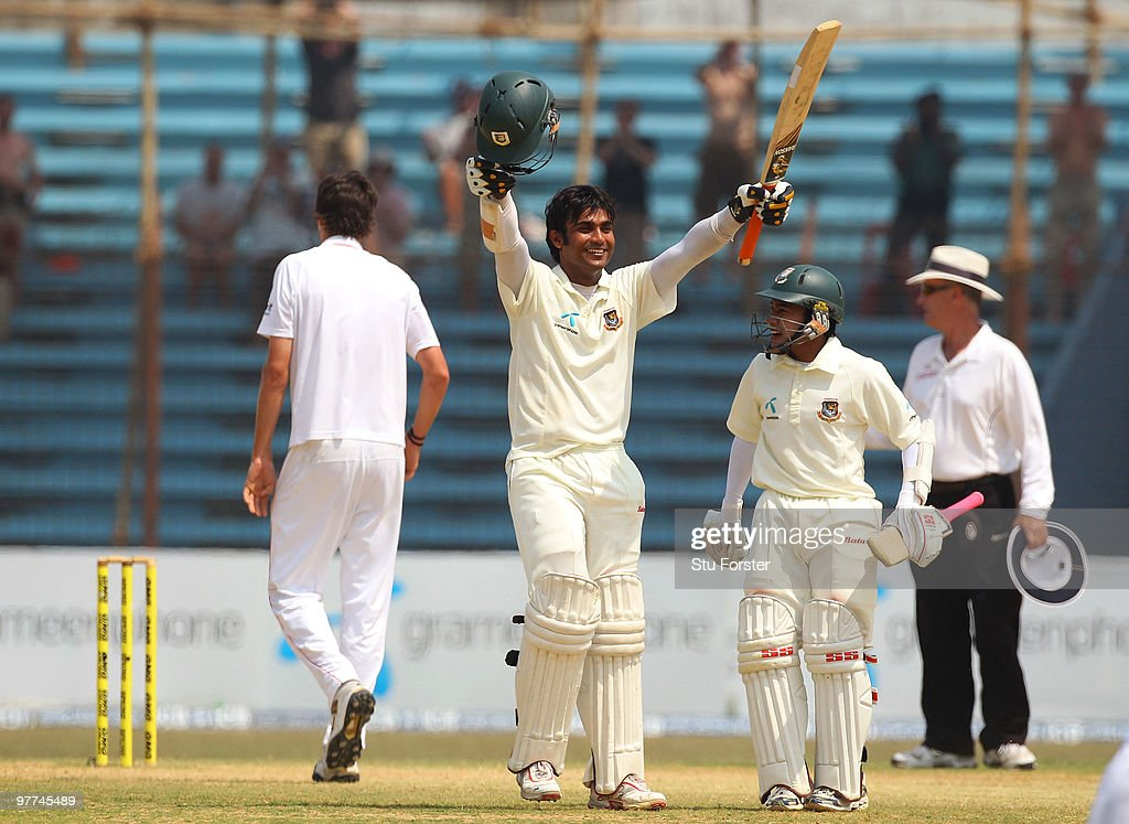 Bangladesh batsman Junaid Siddique (l) celebrates his century with <a gi-track='captionPersonalityLinkClicked' href=/galleries/search?phrase=Mushfiqur+Rahim&family=editorial&specificpeople=835117 ng-click='$event.stopPropagation()'>Mushfiqur Rahim</a> during day five of the 1st Test match between Bangladesh and England at Jahur Ahmed Chowdhury Stadium on March 16, 2010 in Chittagong, Bangladesh.