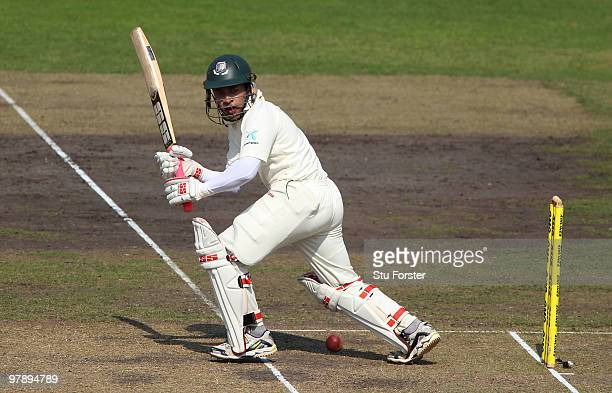 Bangladesh batsman Mushfiqur Rahim picks up some runs during day one of the 2nd Test match between Bangladesh and England at ShereeBangla National...