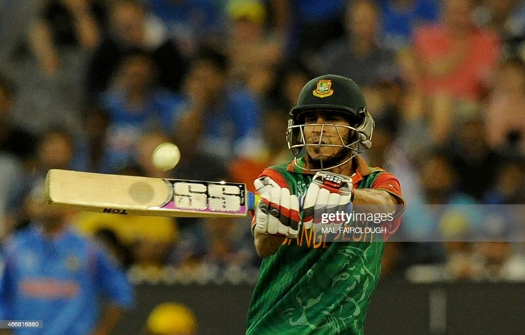 Bangladesh batsman <a gi-track='captionPersonalityLinkClicked' href=/galleries/search?phrase=Nasir+Hossain&family=editorial&specificpeople=4879926 ng-click='$event.stopPropagation()'>Nasir Hossain</a> plays a shot during the 2015 Cricket World Cup quarter-final match between India and Bangladesh at the Melbourne Cricket Ground (MCG) on March 19, 2015.