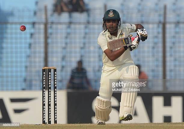 Bangladesh batsman Shamsur Rahman plays a shot during the second day of the second Test match between Bangladesh and Sri Lanka at The Zahur Ahmed...