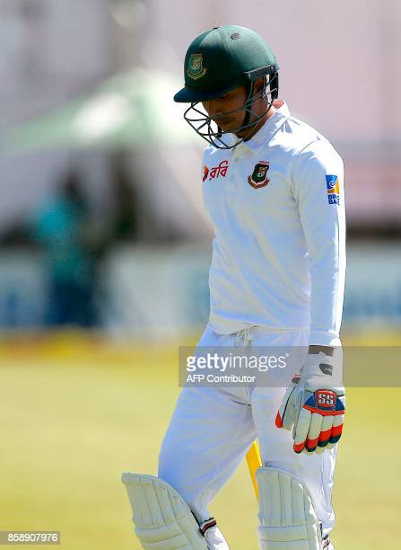 Bangladesh batsman Soumya Sarkar walks back to the pavilion after his dismissal by South Africa's Kagiso Rabada during the third day of the second...