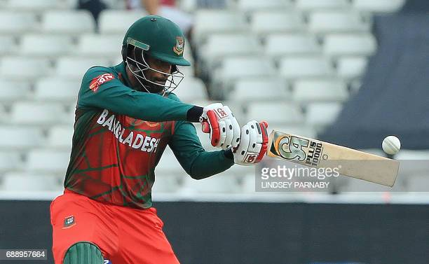 Bangladesh batsman Tamim Iqbal plays a shot on his way to his century during an ICC Champions Trophy Warmup match between Pakistan and Bangladesh at...