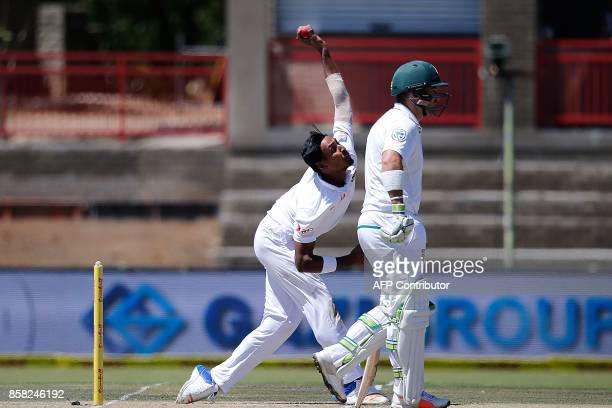Bangladesh bowler Mustafizur Rahman delivers a ball during the first day of the second cricket Test Match between South Africa and Bangladesh in...