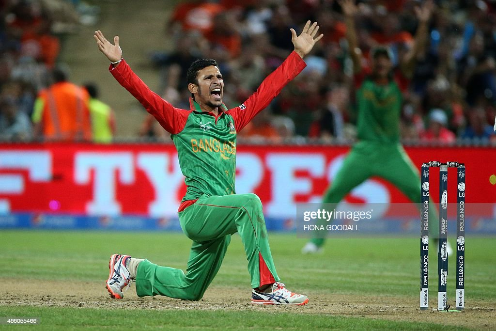 Bangladesh bowler <a gi-track='captionPersonalityLinkClicked' href=/galleries/search?phrase=Nasir+Hossain&family=editorial&specificpeople=4879926 ng-click='$event.stopPropagation()'>Nasir Hossain</a> appeals to the umpire during the Pool A 2015 Cricket World Cup match between New Zealand and Bangladesh at Seddon Park in Hamilton on March 13, 2015. AFP PHOTO / Fiona Goodall