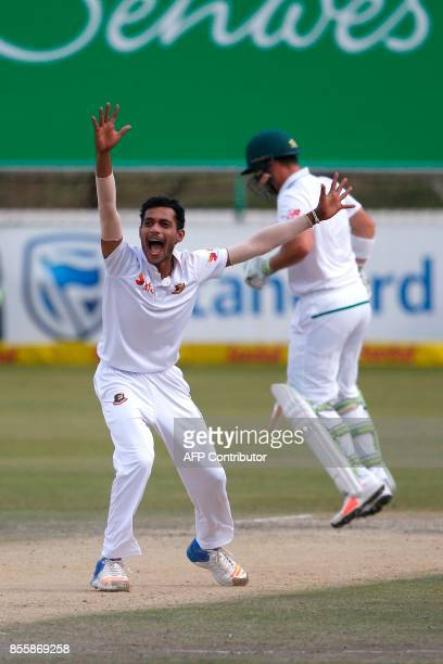 Bangladesh bowler Shafiul Islam successfully claims a LBW dismissing South African batsman Dean Elgar during the third day of the first Test Match...