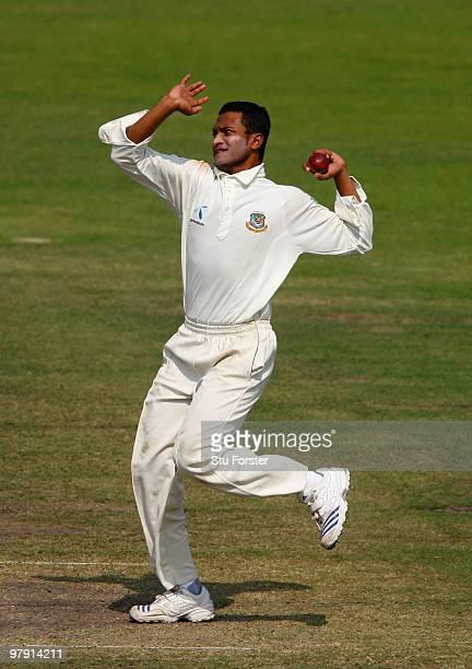 Bangladesh bowler Shakib Al Hasan in action during day two of the 2nd Test match between Bangladesh and England at ShereeBangla National Stadium on...