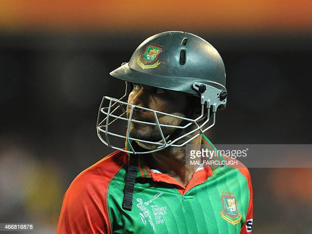 Bangladesh captain Mashrafe Mortaza leaving the ground during the 2015 Cricket World Cup quarterfinal match between India and Bangladesh at the...