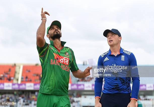 Bangladesh captain Mashrafe Mortaza tosses the coin alongside England captain Jos Buttler ahead of the 3rd One Day International match between...