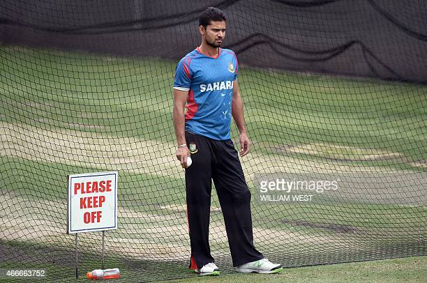Bangladesh captain Mashrafe Mortaza waits to send down a delivery during a training session ahead of their 2015 Cricket World Cup quarterfinal match...