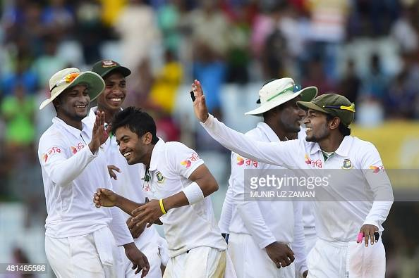 Bangladesh captain Mushfiqur Rahim and cricketer Shakib Al Hasan congratulate teammate Jubair Hossain for the dismissal of South African cricketer...