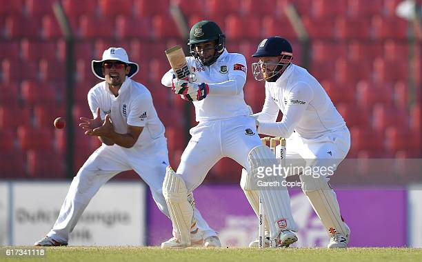 Bangladesh captain Mushfiqur Rahim bats during the 4th day of the 1st Test match between Bangladesh and England at Zohur Ahmed Chowdhury Stadium on...
