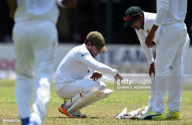 Bangladesh captain Mushfiqur Rahim looks on during the first day of the second and final Test match between Sri Lanka and Bangladesh at the P Sara...