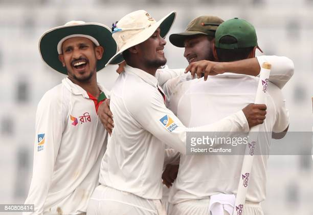 Bangladesh celebrate after they defeated Australia during day four of the First Test match between Bangladesh and Australia at Shere Bangla National...