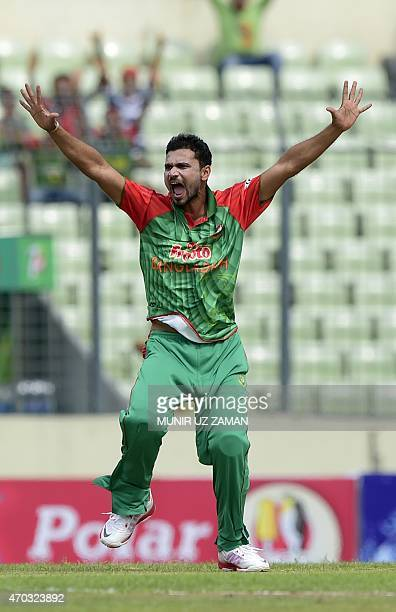 Bangladesh cricket captain Mashrafe Bin Mortaza appeals unsuccessfully for leg before wicket decision against Pakistan cricket captain Azhar Ali...