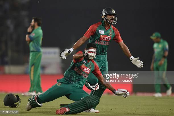 Bangladesh cricket captain Mashrafe Bin Mortaza celebrates after winning as the Pakistan cricket captain Shahid Afridi reacts after the Asia Cup T20...
