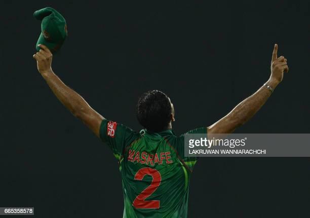 Bangladesh cricket captain Mashrafe Mortaza reacts after victory in the second T20 international cricket match between Sri Lanka and Bangladesh at...