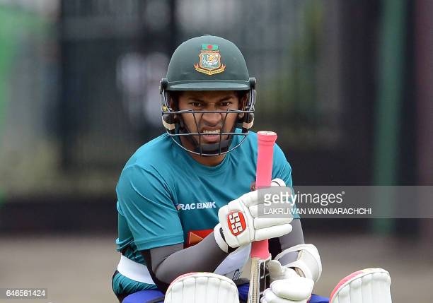 Bangladesh cricket captain Mushfiqur Rahim waits to bat during a practice session at the R Premadasa Stadium in Colombo on March 1 2017 ahead of a...