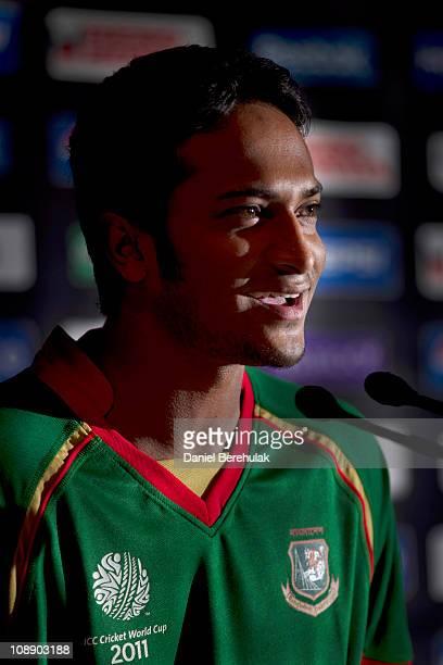 Bangladesh cricket captain Shakib Al Hasan addresses the media during the Bangladesh Captains' Press Conference on February 8 2011 in Dhaka Bangladesh