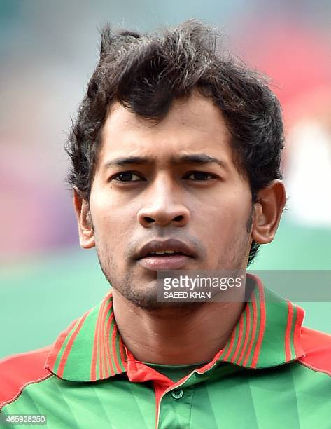 Bangladesh cricket team wicketkeeper Mushfiqur Rahim stands for the national anthem prior to the 2015 Cricket World Cup Pool A match against England...