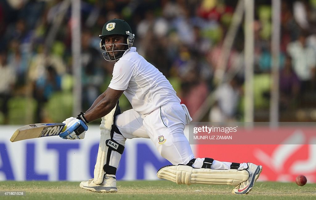 Bangladesh cricketer <a gi-track='captionPersonalityLinkClicked' href=/galleries/search?phrase=Imrul+Kayes&family=editorial&specificpeople=5565752 ng-click='$event.stopPropagation()'>Imrul Kayes</a> plays a shot during the fourth day of the first cricket Test match between Bangladesh and Pakistan at The Sheikh Abu Naser Stadium in Khulna on May 1, 2015. AFP PHOTO/Munir uz ZAMAN