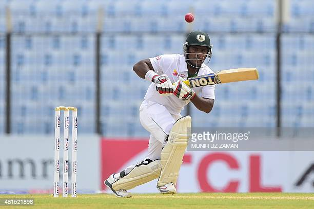 Bangladesh cricketer Imrul kayes plays a shot during the second day of the first cricket Test match between Bangladesh and South Africa at the Zahur...
