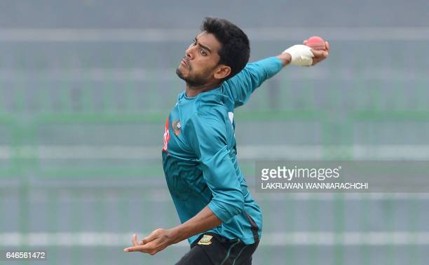 Bangladesh cricketer Mehedi Hasan delivers a ball during a practice session at the R Premadasa Stadium in Colombo on March 1 2017 ahead of a Test...