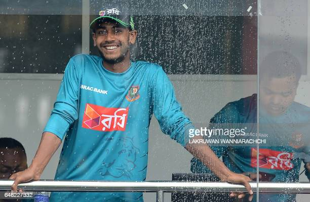Bangladesh cricketer Mehedi Hasan looks on during a practice session at The R Premadasa Stadium in Colombo on February 28 ahead of a series in Sri...