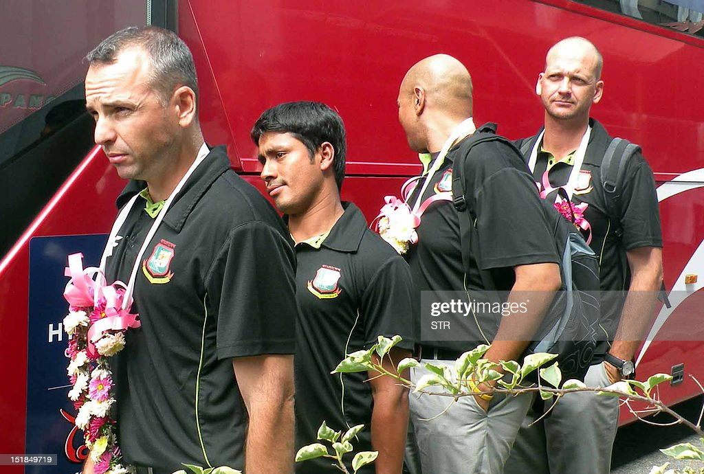 Bangladesh cricketer Mohammad Ashraful arrives with his teammates for the World Cup Twenty20 tournament at Bandaranaike International Airport in...