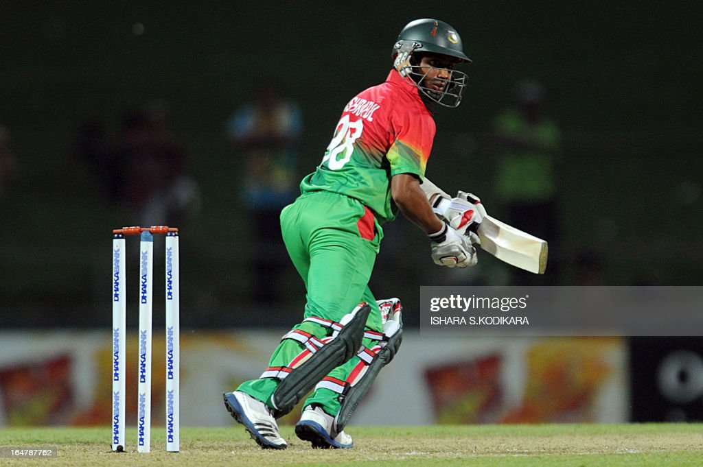 Bangladesh cricketer Mohammad Ashraful plays a shot during the third and final oneday international match between Sri Lanka and Bangladesh at The...