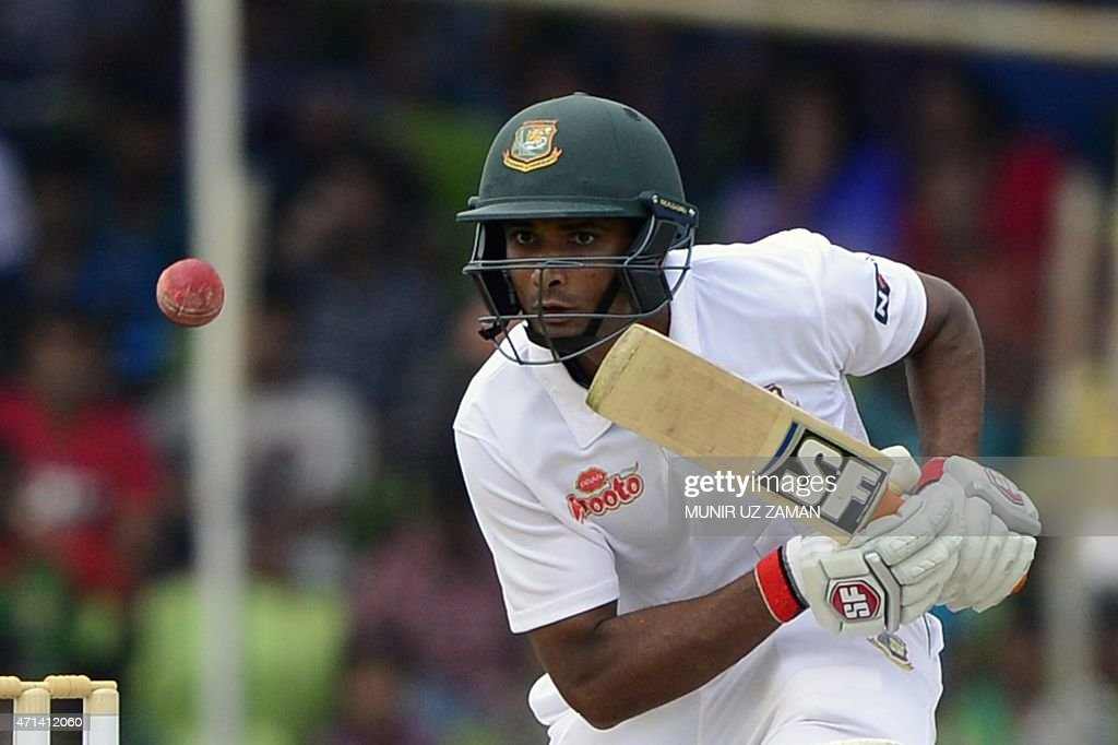Bangladesh cricketer Mohammad Mahmudullah plays a shot during the first day of the first cricket Test match between Bangladesh and Pakistan at The Sheikh Abu Naser Stadium in Khulna on April 28, 2015. AFP PHOTO/Munir uz ZAMAN
