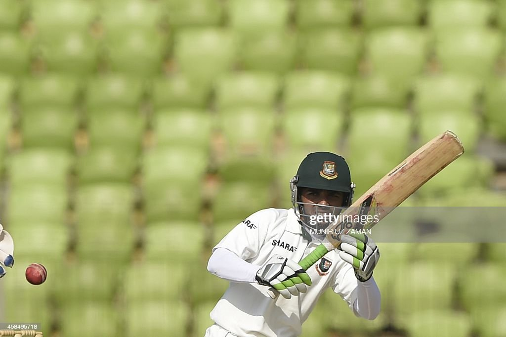 Bangladesh cricketer Mominul Haque plays a shot during the fourth day of the second cricket Test match between Bangladesh and Zimbabwe at the Sheikh...