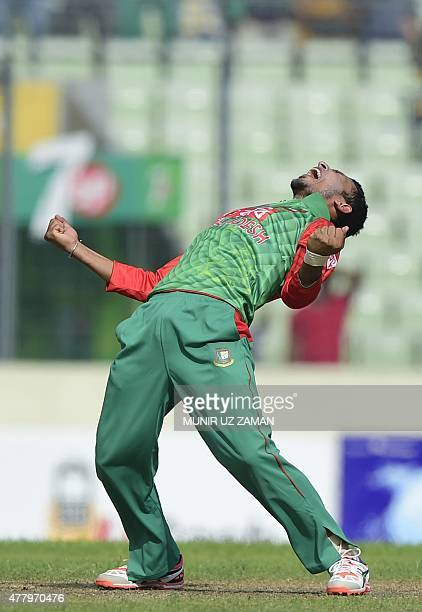 Bangladesh cricketer Nasir Hossain appeals successfully for leg before wicket against Indian cricketer Virat Kohli during the second One Day...
