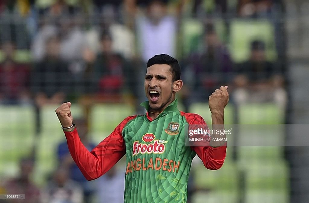 Bangladesh cricketer <a gi-track='captionPersonalityLinkClicked' href=/galleries/search?phrase=Nasir+Hossain&family=editorial&specificpeople=4879926 ng-click='$event.stopPropagation()'>Nasir Hossain</a> reacts after the dismissal of the Pakistan cricketer Sami Aslam during the third One Day International cricket match between Bangladesh and Pakistan at the Sher-e-Bangla National Cricket Stadium in Dhaka on April 22, 2015. AFP PHOTO / Munir uz ZAMAN