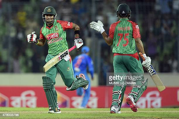 Bangladesh cricketer Sabbir Rahman and Shakib alHasan celebrate after playing the winning shot during the second ODI cricket match between Bangladesh...