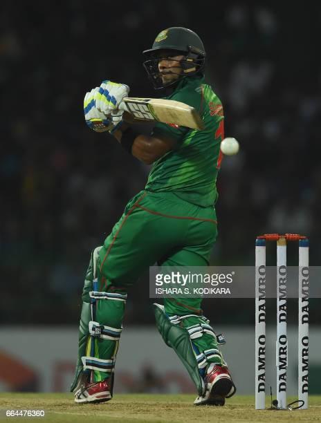 Bangladesh cricketer Sabbir Rahman Sarkar plays a shot during the first T20 international cricket match between Sri Lanka and Bangladesh at The...