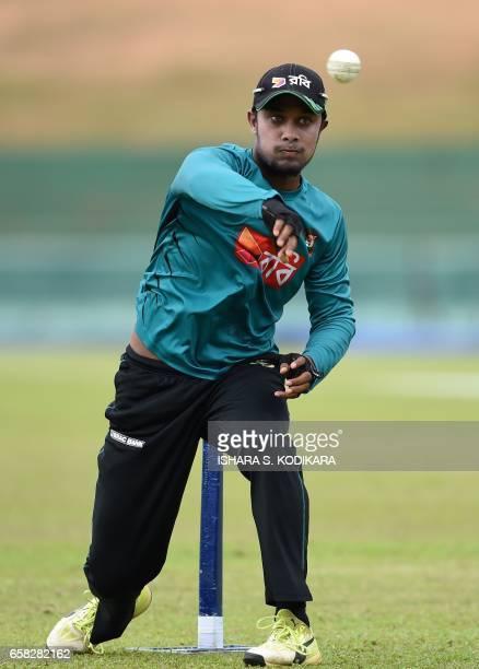 Bangladesh cricketer Sabbir Rahman throws a ball during a practice session at the Rangiri Dambulla International Cricket Stadium in Dambulla on March...
