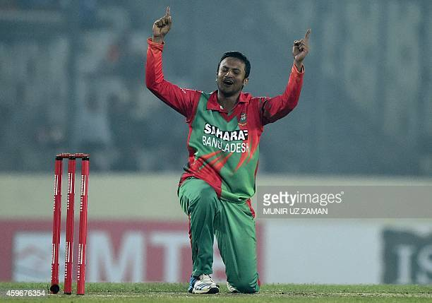 Bangladesh cricketer Shakib Al Hasan appeals successfully for leg before wicket decision aganist Zimbabwe criketer Vusi Sibanda during the fourth...
